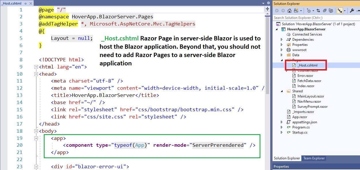 Blazor Server project structure Step 7